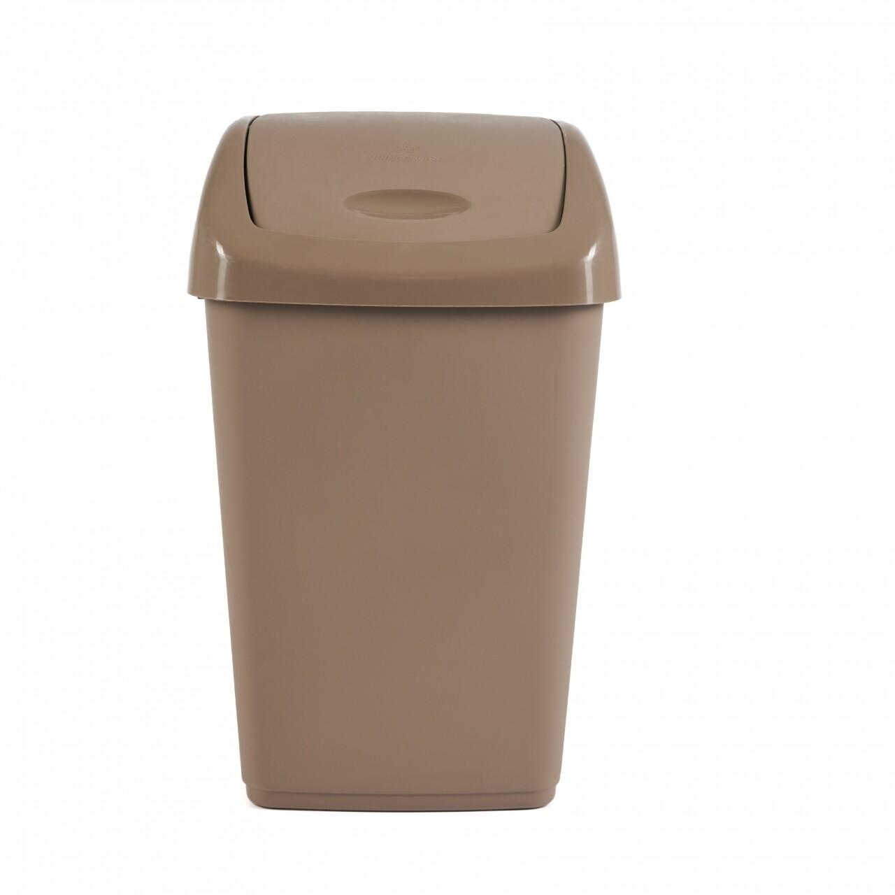 Cos de gunoi cu capac batant Kara Brown, 9L, Heinner, plastic, maro