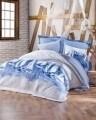Lenjerie de pat matlasata pentru o persoana, 3 piese, 100% bumbac ranforce, Cotton Box, Pusla Blue