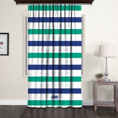 Draperie Beverly Hills Polo Club, 140x260, 100% poliester, White /Blue/Green