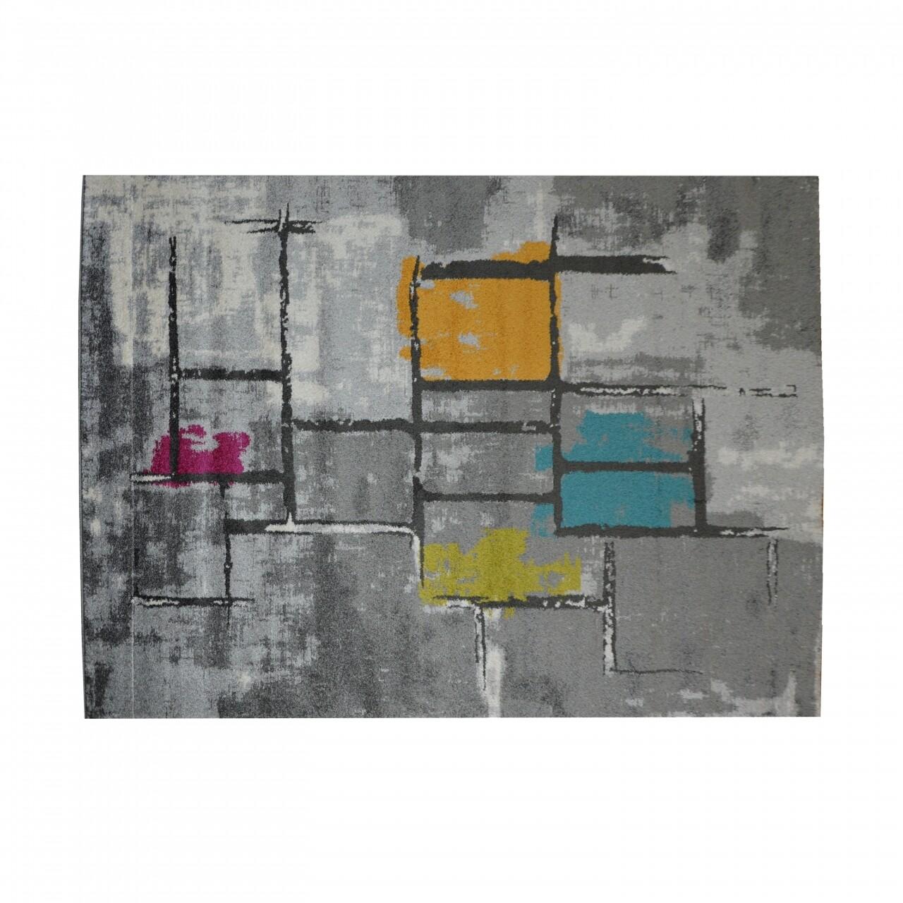 Covor Specter Graffiti Grey, Floorita, 160 x 230 cm, 100% polipropilena, gri