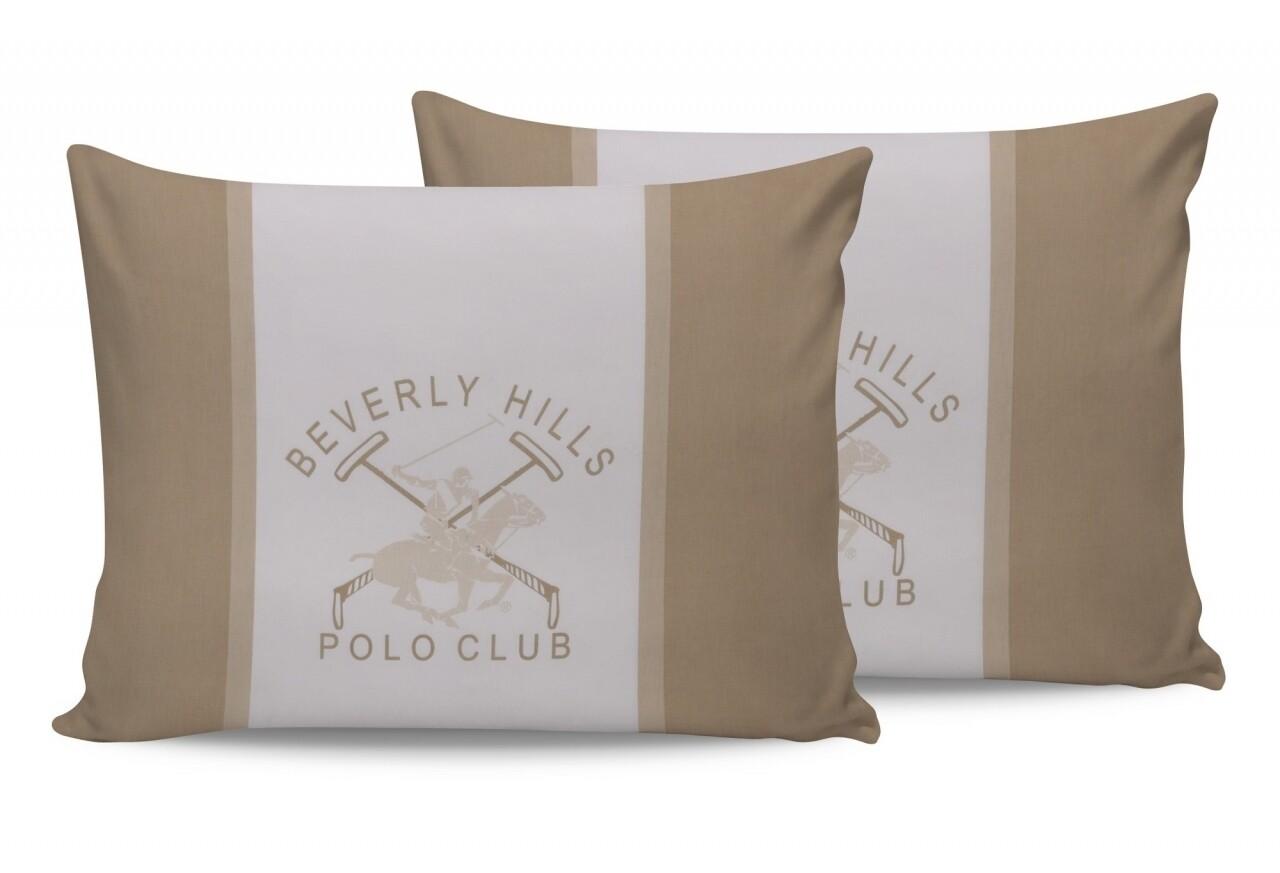 Set 2 fete de perna 50x70, 100% bumbac, Beverly Hills Polo Club, BHPC 024 - Cream, Alb/Crem