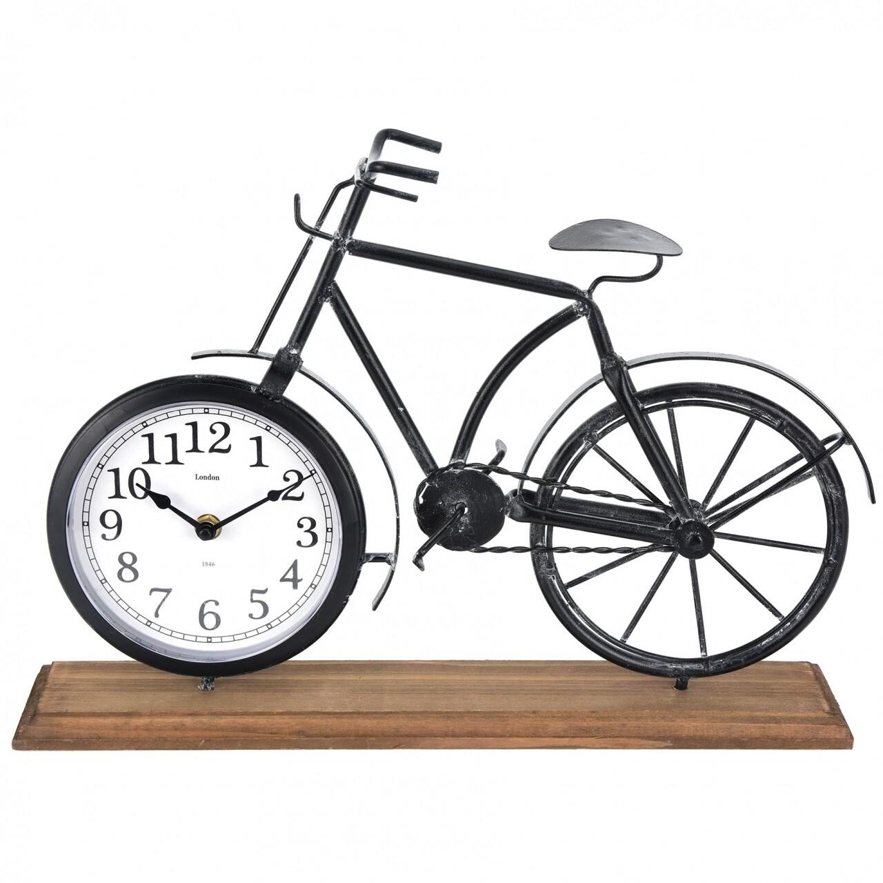 Ceas de masa Bike, 41.5 x 10 x 29 cm, metal si lemn, alb/negru/natur