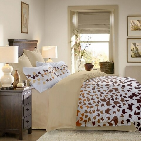 Lenjerie de pat dubla King Size, Loving Matisse V.2, cu fata reversibila bej, 100% bumbac, 6 piese