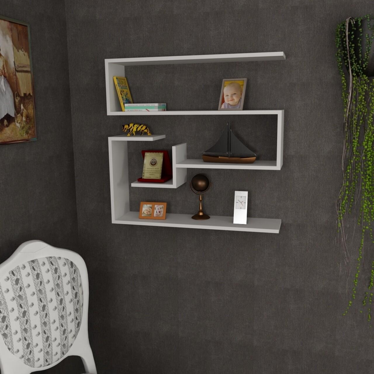 Raft pentru perete, Wooden Art, Confier White, 90x87x22 cm