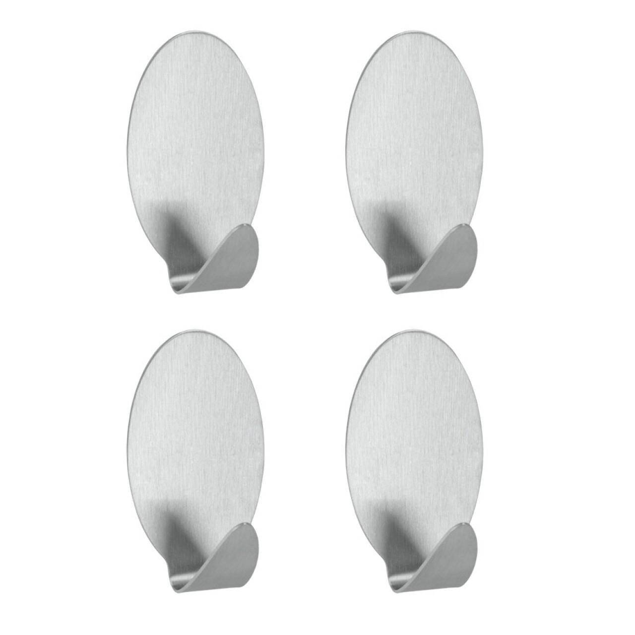 Set 4 carlige ovale Lilliput, Metaltex, cu adeziv inclus, inox, argintiu