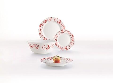 Serviciu de masa Jazzy Pure Red, Luminarc, 19 piese, opal, alb/rosu