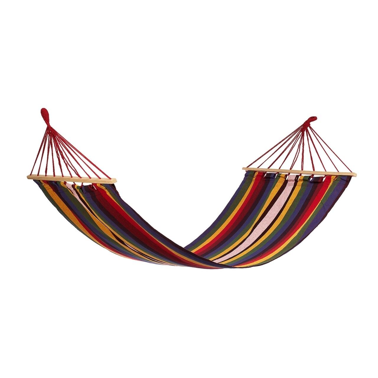 Hamac Multicolor cu bare de lemn, 200x80 cm, Heinner