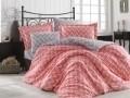 Lenjerie de pat pentru o persoana, 3 piese, 100% bumbac poplin, Hobby, Nazende Coral, roz/gri
