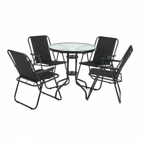 Set mobilier de gradina, Heineer, Belgrave, 5 piese, negru