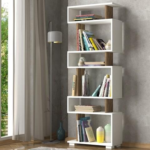 Biblioteca Blok, Woody Fashion, 60x19.5x165 cm, alb/maro