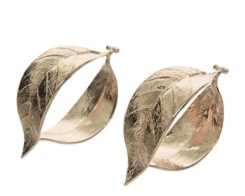 Set 2 inele pentru servetele Leaf, Decoris, 4x3 cm, auriu