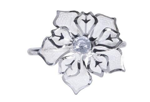 Set 4 inele pentru servetele Poinsettia , 4x5.5x4.5 cm, metal, argintiu