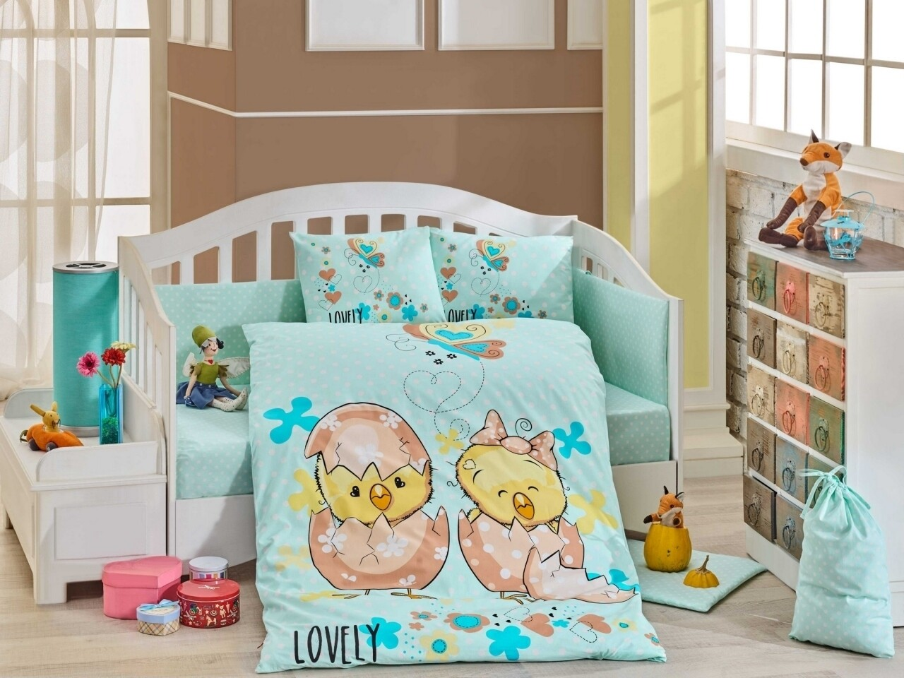 Lenjerie de pat pentru copii Lovely Mint, Hobby, 4 piese, 100 x 150 cm, 100% bumbac poplin, multicolora