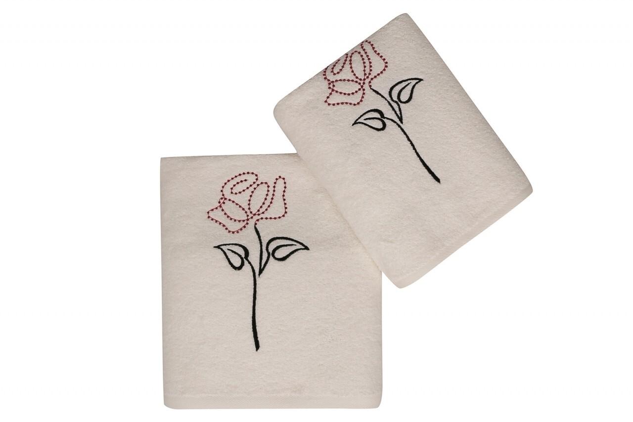 Set 2 prosoape Baskili İkili Takim Tasli Gul, Saheser, 50 x 90 cm/70 x 140 cm, 100% bumbac, alb