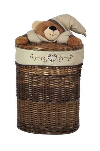 Cos depozitare XL Bear, Bedora, salcie/material textil, multicolor
