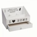 Organizator I love home, Out of the blue, 13 x 22 cm, lemn, alb