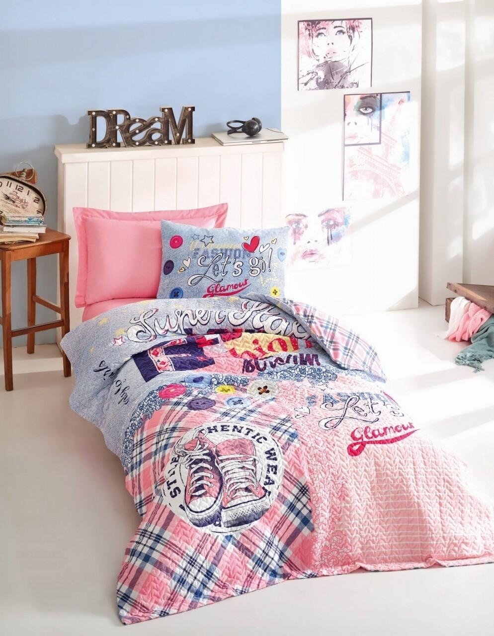 Lenjerie de pat matlasata pentru o persoana Young, 3 piese, 100% bumbac ranforce, Cotton Box, Superstar Pink
