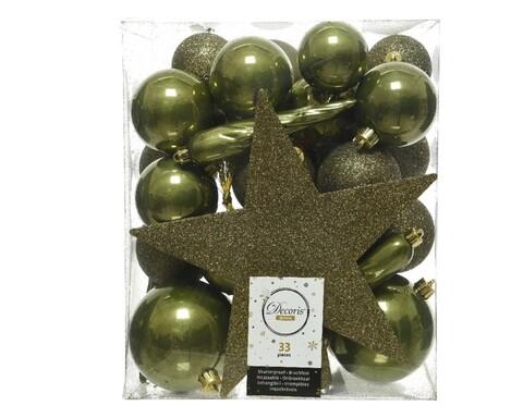 Cutie cu 33 globuri asortate si varf de brad Star Moss Green, Decoris, plastic, verde