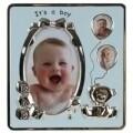 Rama foto It's a boy, InArt, 3 fotografii, 18 x 19 cm, aluminiu/sticla, argintiu/bleu