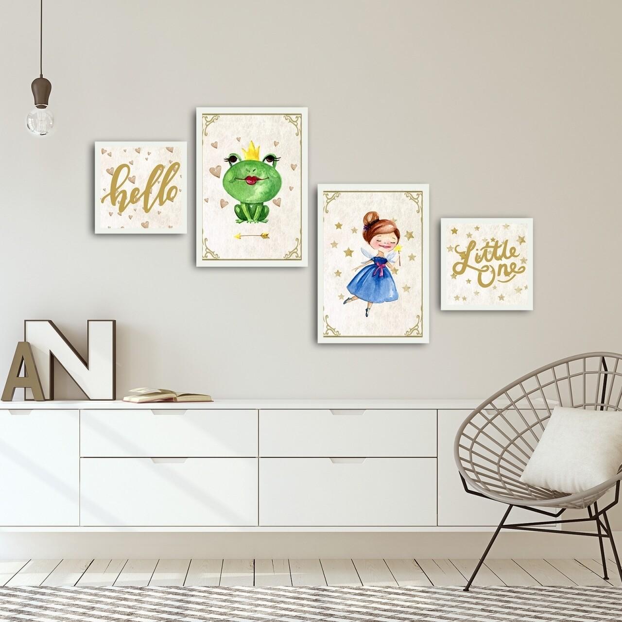 Set 4 tablouri decorative, Alpha Wall, Hello Little One, 100% MDF, multicolor