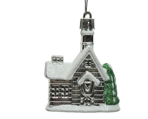 Glob House, Decoris, 2x6x7.5 cm, plastic, argintiu
