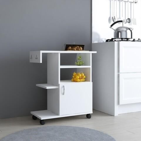 Cabinet cu roti pentru bucatarie Mese, Ametti, 65 x 31.3 x 76.8 cm, alb