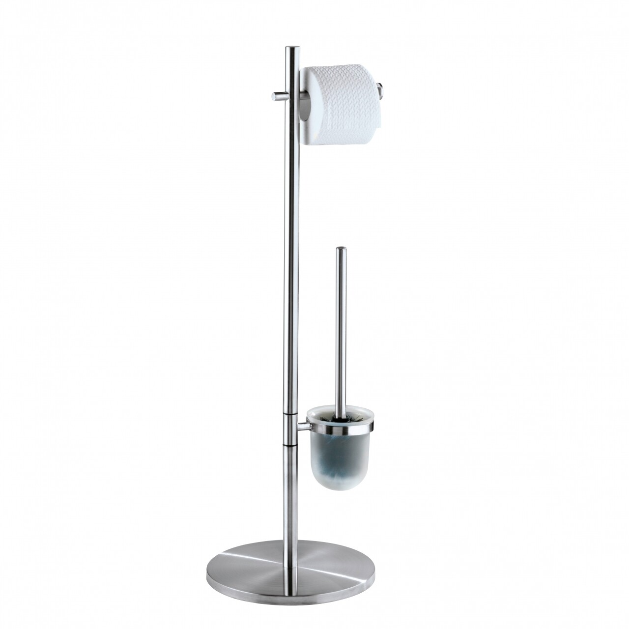 Suport hartie igienica si perie de toaleta Pieno Matt, Wenko, 26.5 x 25.5 x 79 cm, inox/polipropilena, argintiu
