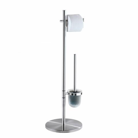 Suport hartie igienica si perie de toaleta Pieno Matt, Wenko, 26.5 x 25.5 x 79 cm, otel inoxidabil/polipropilena, argintiu