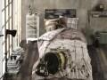 Lenjerie de pat pentru o persoana, 3 piese, 100% bumbac poplin, Hobby, Rock Music, maro