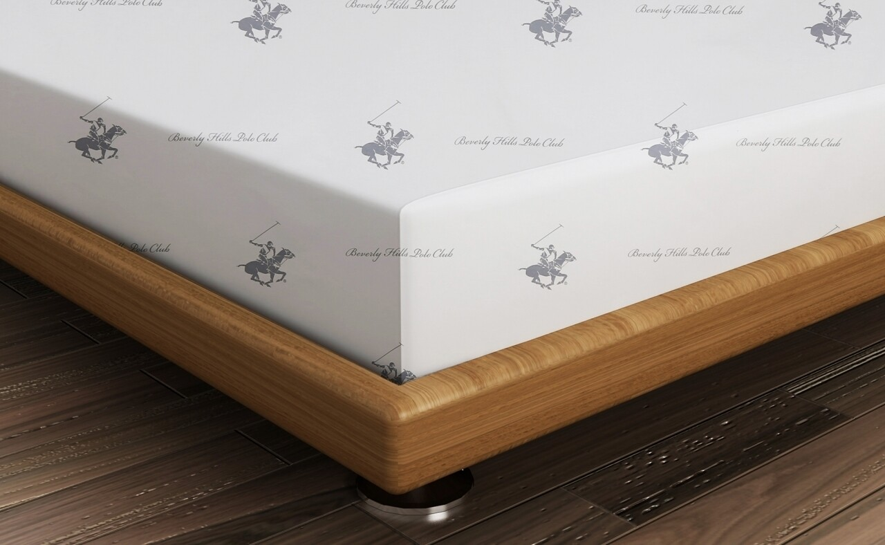 Cearceaf de pat pentru o persoana BHPC 001 - Dark Blue, Beverly Hills Polo Club, 180x240 cm, 100% bumbac ranforce, alb/bleumarin