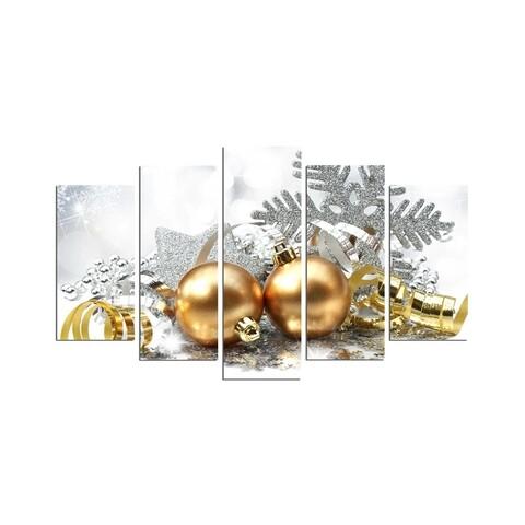 Set 5 tablouri decorative, Christmas 5PMDFNOEL-4, multicolor