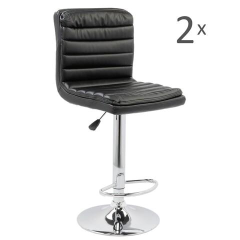 Set 2 scaune bar, Bedora Square, piele ecologica, negru