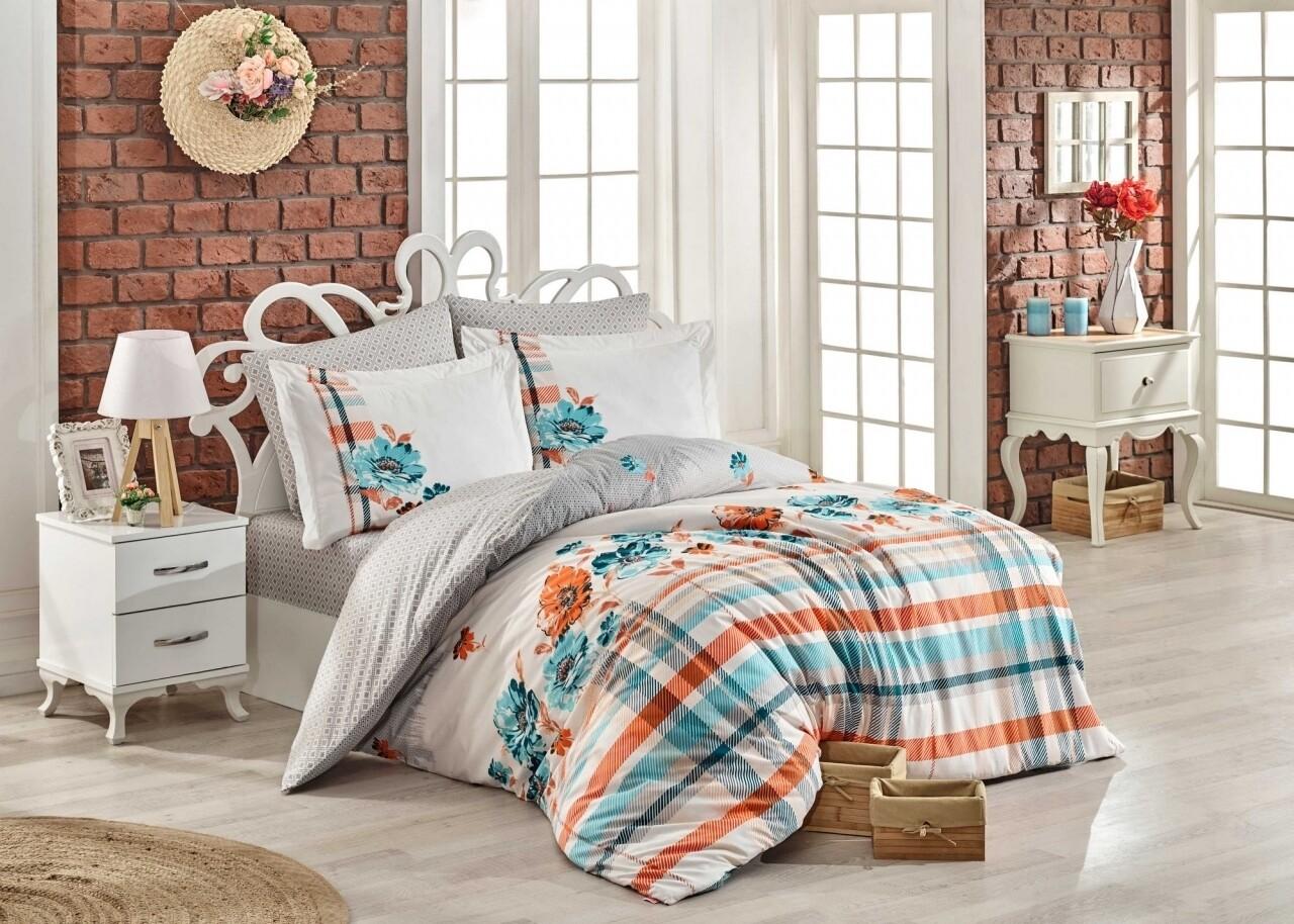 Lenjerie de pat pentru o persoana, 3 piese, 100% bumbac poplin, Hobby, Norma Turquoise, multicolora