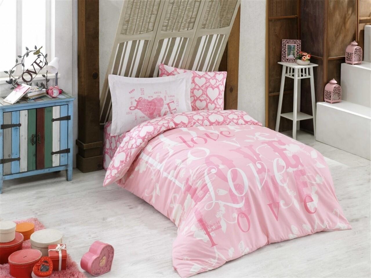 Lenjerie de pat pentru o persoana, 3 piese, 100% bumbac poplin, Hobby, Love, roz