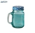 Halba tip borcan cu capac perforat Blue, Heinner Home, 400 ml, sticla/metal, bleu