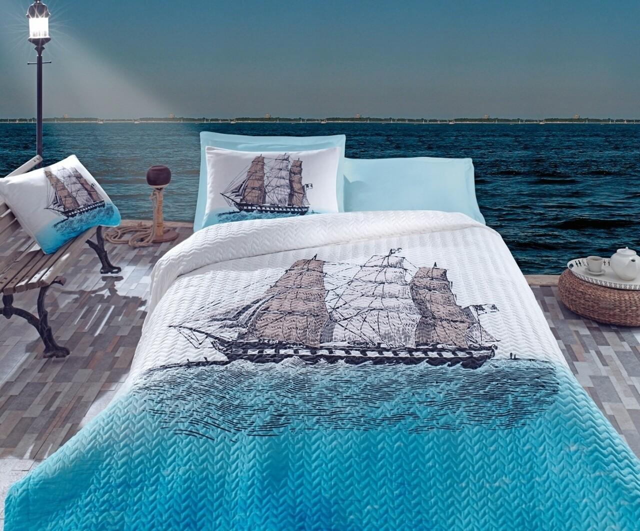 Lenjerie de pat matlasata pentru o persoana, 3 piese, 100% bumbac ranforce, Cotton Box, Ship Blue