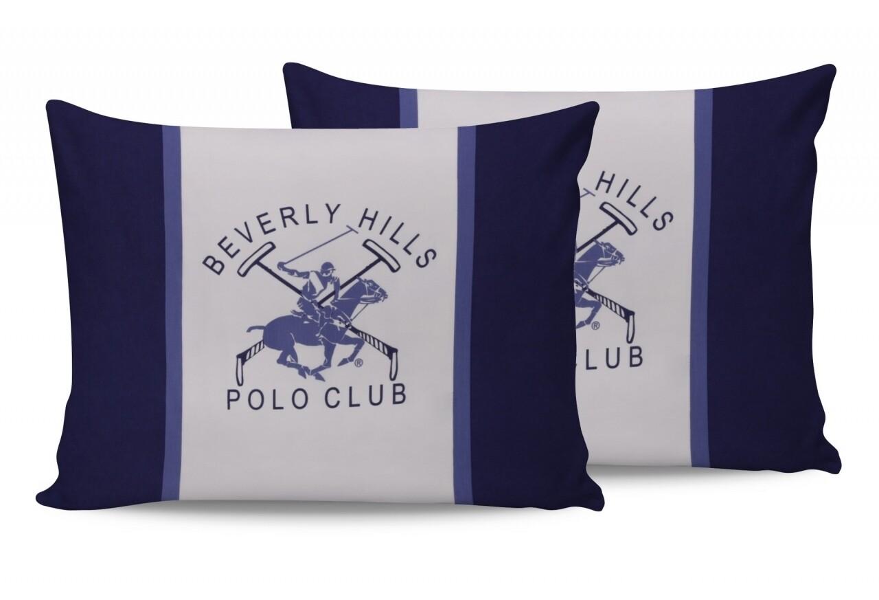 Set 2 fete de perna 50x70, 100% bumbac, Beverly Hills Polo Club, BHPC 029 - Blue, Alb/Albastru