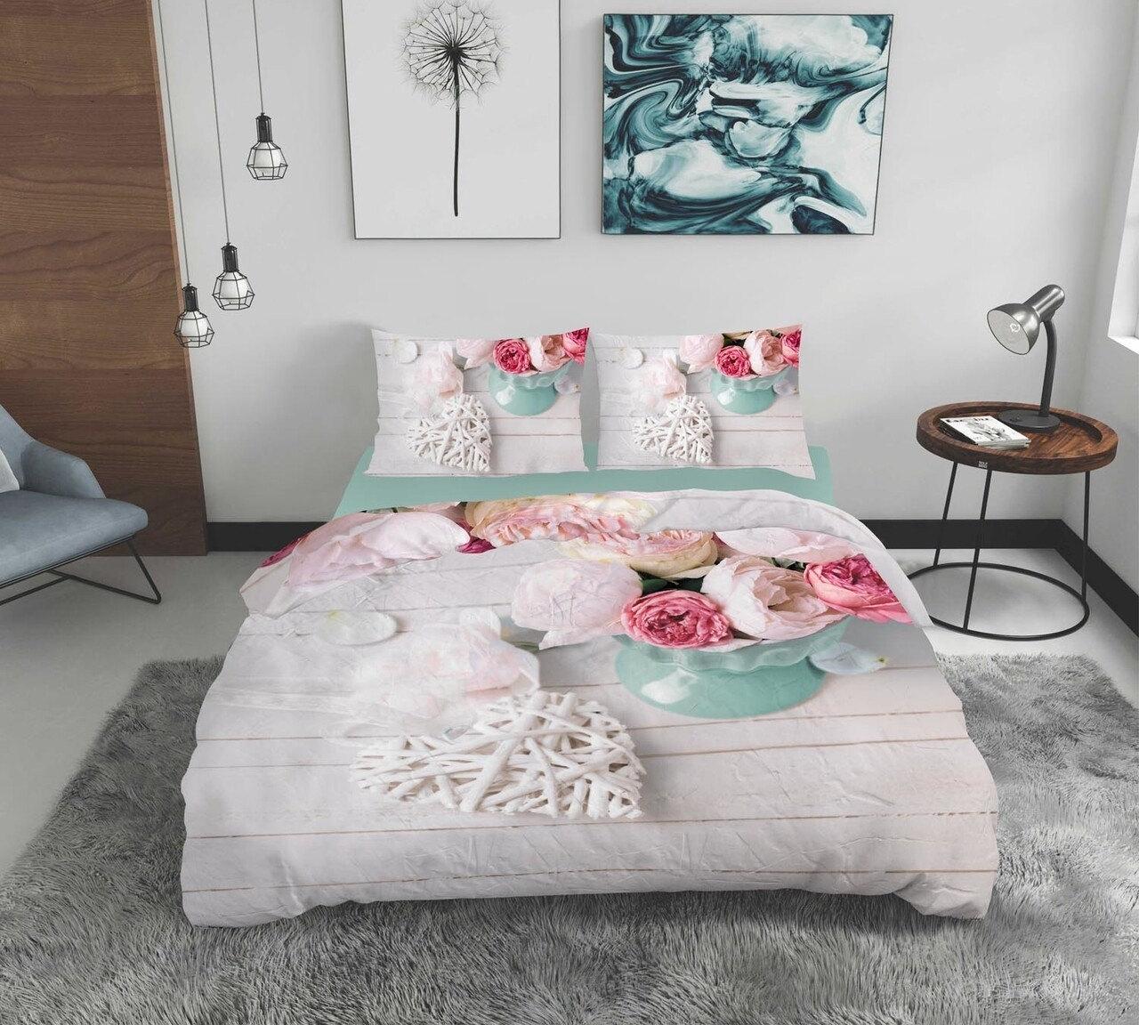 Lenjerie de pat dubla Romance, Bedora, 4 piese, 200x220, 100% bumbac, multicolor