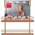 Polita dubla depozitare condimente City Copper, Metaltex, 13 x 38 x 35 cm, inox/invelis Polytherm, cupru