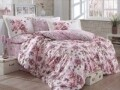 Lenjerie de pat pentru o persoana, 3 piese, 100% bumbac poplin, Hobby, Alessia Dusty Rose, roz