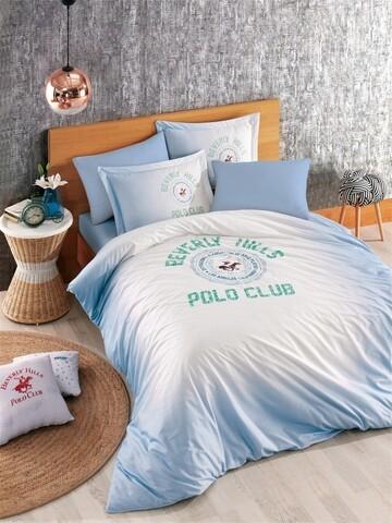 Lenjerie de pat dubla King Size, Beverly Hills Polo Club Blue, 100% bumbac ranforce, 4 piese, Alb/Bleu