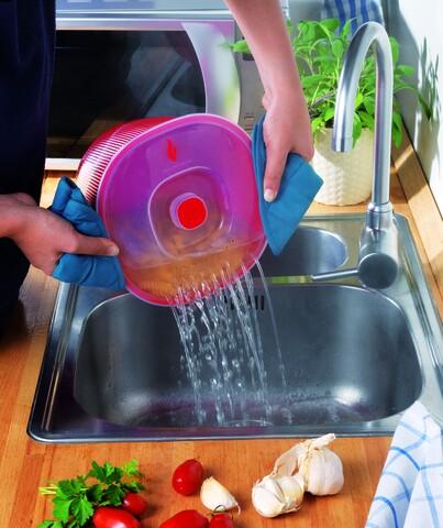 Recipient preparare paste in cuptorul cu microunde, Snips, 4 L, polipropilena, rosu