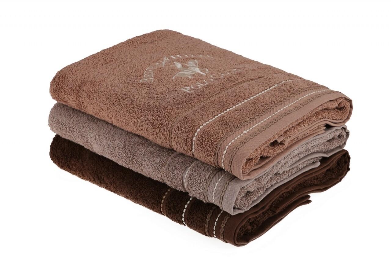 Set 3 prosoape de baie Beverly Hills Polo Club, 70x140 cm, 100% bumbac, Brown/Light Brown/Light Brown