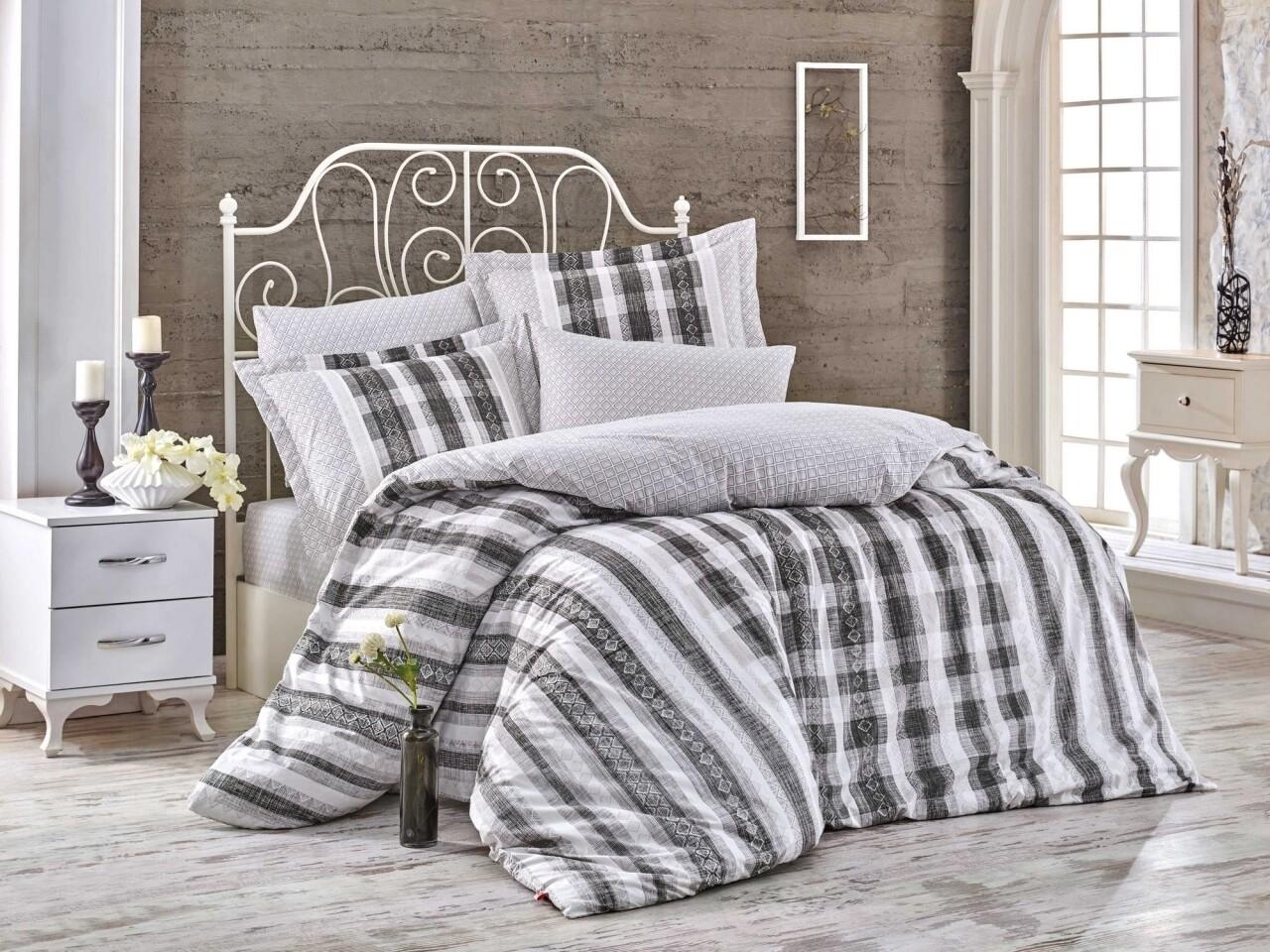 Lenjerie de pat pentru o persoana, 3 piese, 100% bumbac poplin, Hobby, Debora, alb/negru