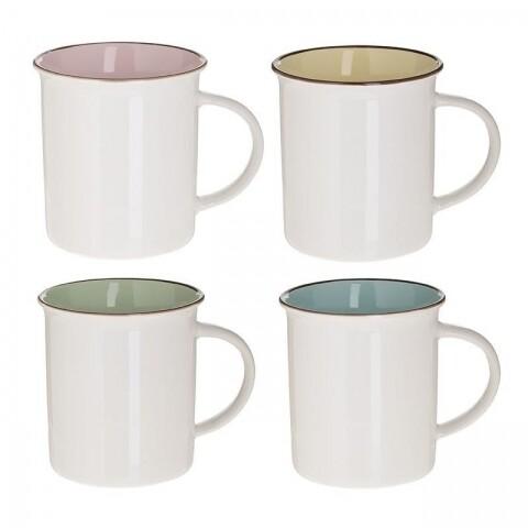 Set 4 cani de cafea din portelan InArt, 320 ml, Colors