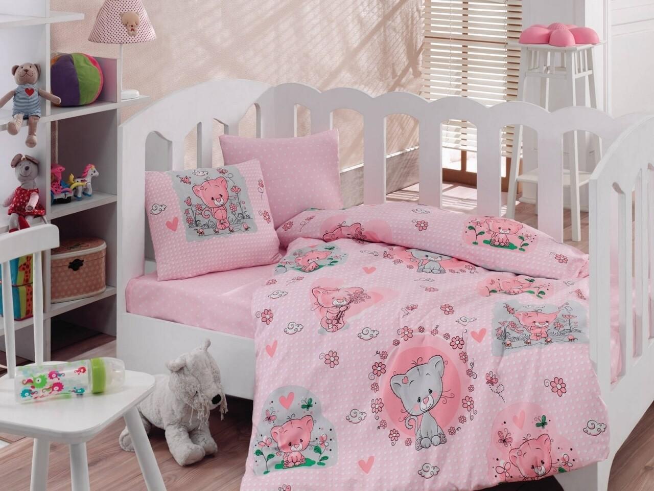Lenjerie de pat pentru copii, 4 piese, 100% bumbac ranforce, Cotton Box, Cats