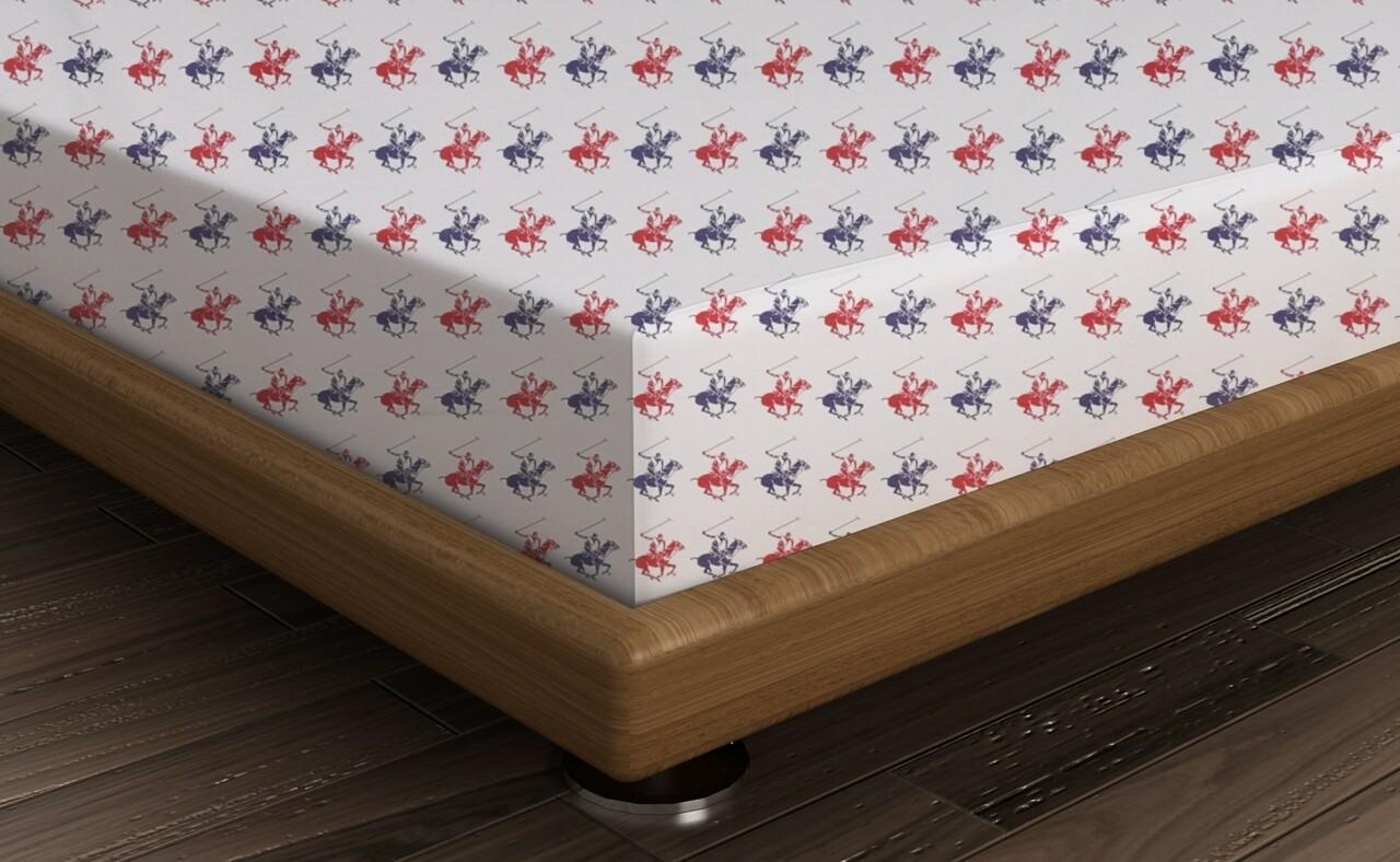 Cearceaf de pat dublu, 240x260 cm, 100% bumbac ranforce, Beverly Hills Polo Club, alb/bleumarin/rosu