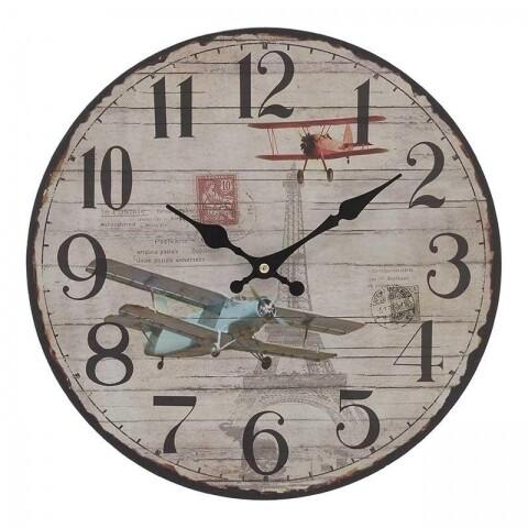 Ceas de perete InArt, 34x34Χ4 cm, metalic, Aeroplane