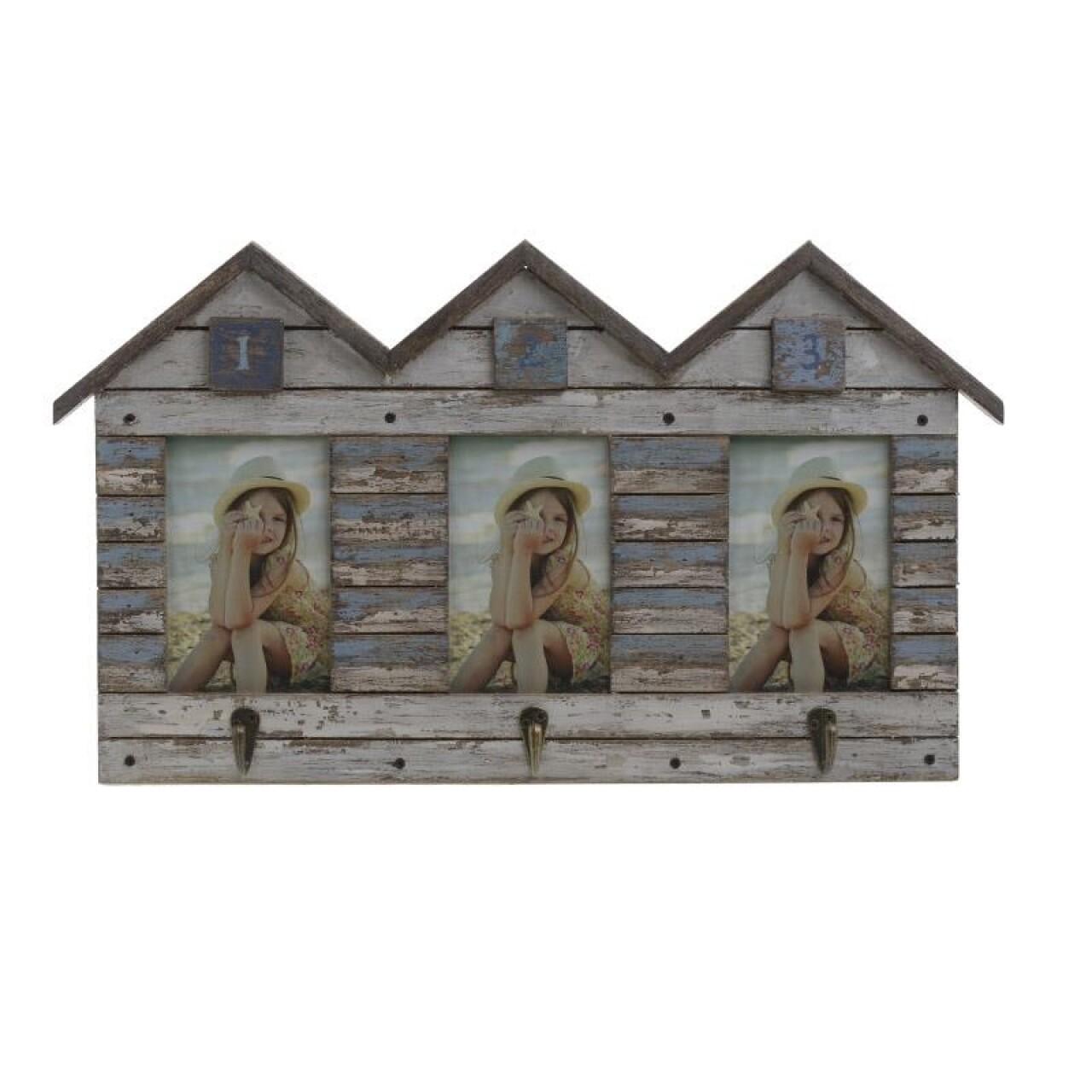 Cuier cu rama foto Trio, InArt, 3 fotografii, 30 x 51 cm, lemn si metal, natur/bleu
