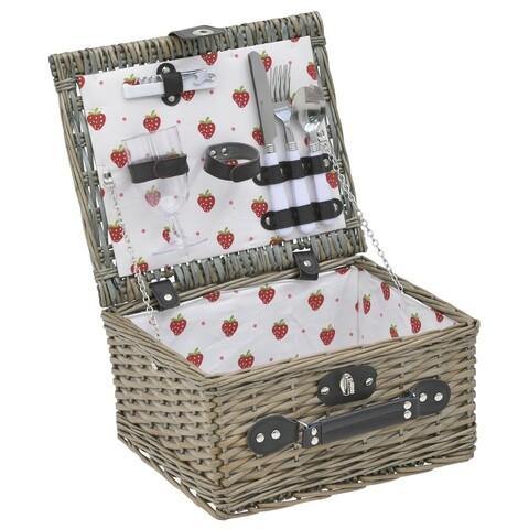 Cos de picnic pentru 2 persoane, InArt, 33x28x18 cm, bej